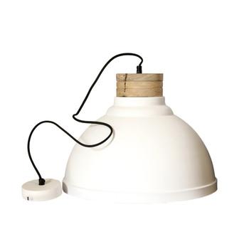 White Textured Iron Light with Mango Wood finish (42cm)