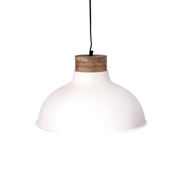 White Textured Iron Light with Mango Wood finish (47cm)