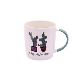 Ceramic Mug - 350ml - Cactus design: You And Me