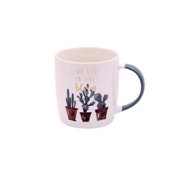 Ceramic Mug - 350ml - Cactus design: Live Life In Full Bloom