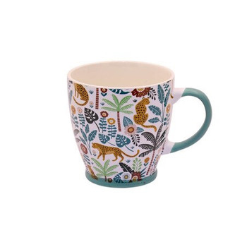 Ceramic Mug - 400ml - Leopard & Flower Garden