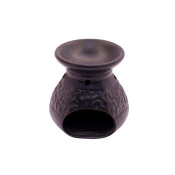 Matt Black Ceramic Oil Burner - Flower Vine