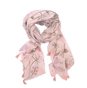 Faded Flowers Pink Polyester Scarf