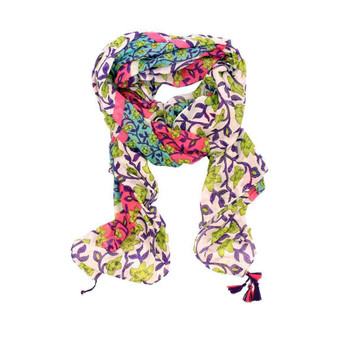 Scarf - Bright Green & Purple Flowers with Tassels