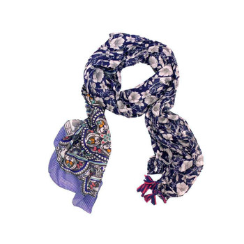 Scarf - Blue Flowers & Stained Glass Pattern
