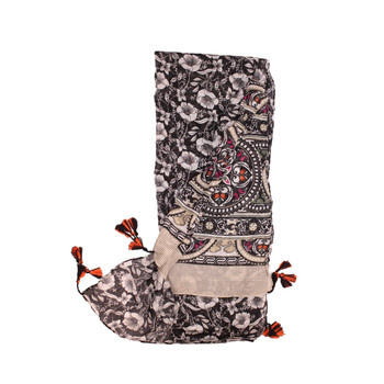 Scarf - Black Flowers & Stained Glass Pattern