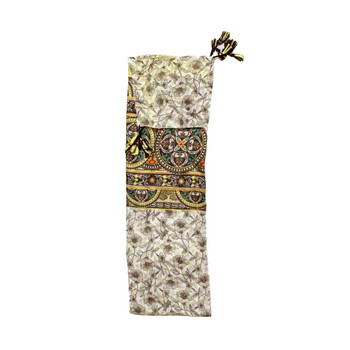 Scarf - Cream-gold Flowers & Stained Glass Pattern