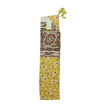 Scarf - Mustard Yellow Flowers & Stained Glass Pattern