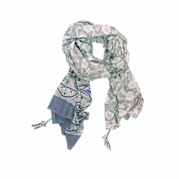 Scarf - Grey Flowers & Stained Glass Pattern