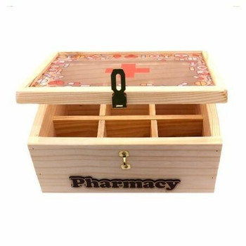 Wooden First Aid Box Printed - First Aid