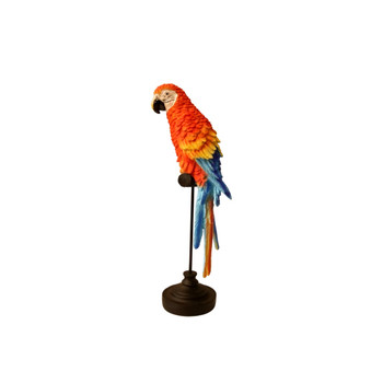 Red Blue Parrot on Perch (36cm)