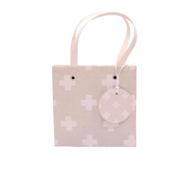 Small Gift Bag - White Crosses (16x16x16cm)
