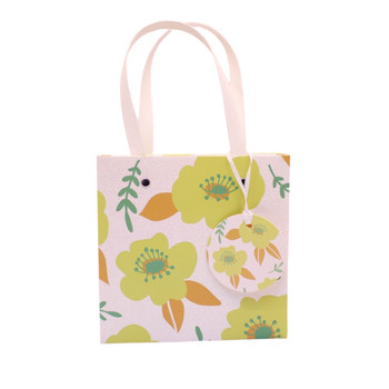 Large Gift Bag - Green Mustard Flowers