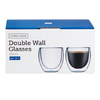 Double Wall Cappuccino Glasses Set of 2 - 250ml