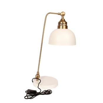 Brushed Gold Twisted & Matt White Desk Lamp (58cm)