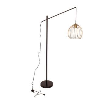 Gold Brushed Wire & Matt Black Standing Floor Lamp (159cm)
