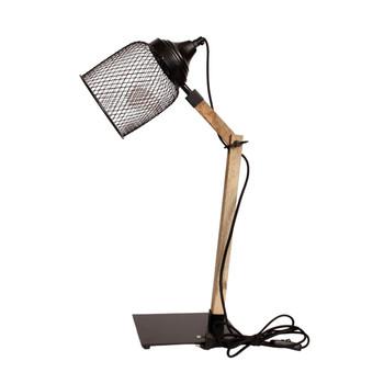 Matt Black Mesh Desk Lamp with Wood Finish (49cm)