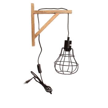 Matt Black Mesh Wall Lamp with Wood finish (17cm)