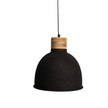 Textured Black Light with Mango Wood finish (31cm)
