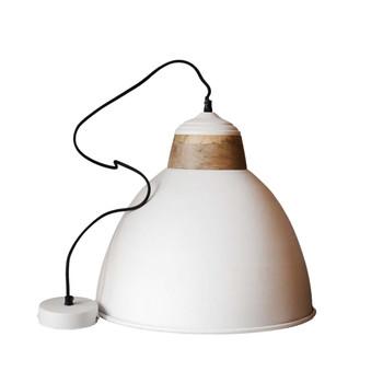 White Iron Textured Light with Mango Wood - 21cm