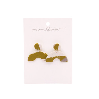 Mustard And Grey Stud With Rainbow Clay Earrings