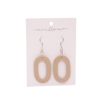 Beige Hoop Dop Clay Earrings