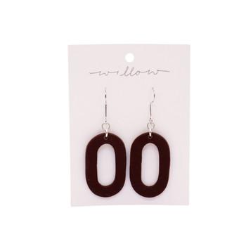 Dark Brown Hoop Drop Clay Earrings