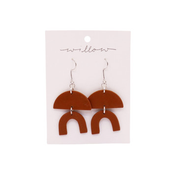 Brown Semicircle with Rainbow Arch Clay Earring
