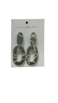 KOA Olive Green and White Stripes Clay Earring
