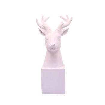 White Deer Head on Stand (Med / 24.5cm)