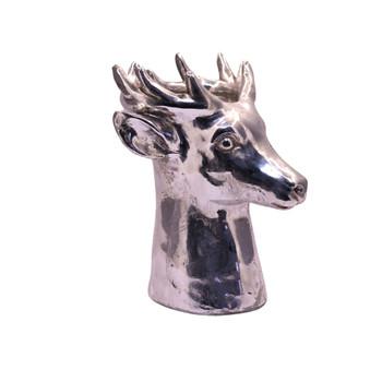 Small Silver Deer Head Planter (23cm)