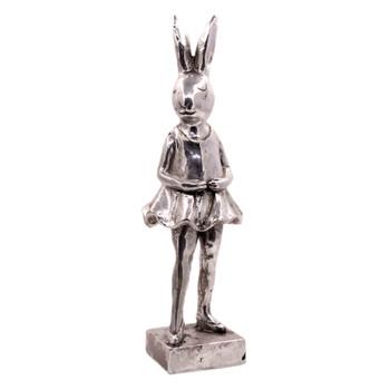 Large Silver Polyresin Bunny - Pointing Ballerina (39cm)