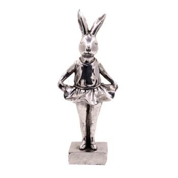 Small Silver Polyresin Bunny -  Ballerina Pose (30cm)
