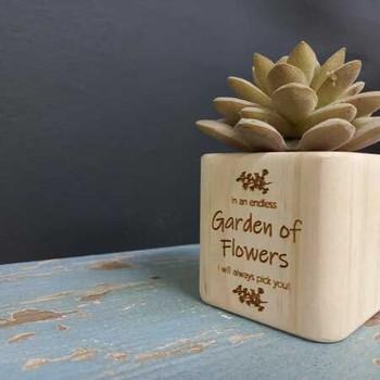 Natural Wood Plant Holder - Garden Of Flowers