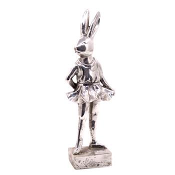 Small Silver Polyresin Bunny - Ballerina Stance (30cm)