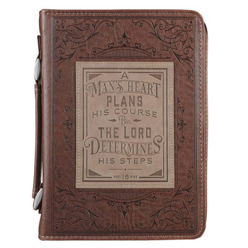 A Man's Heart Brown Leather Classic Bible Cover