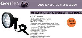 Gamepro Otus 12 V Spotlight 3500 Lumen