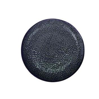 Ceramic Serving Plate - Dark Blue & Avo Green Pattern - 30cm