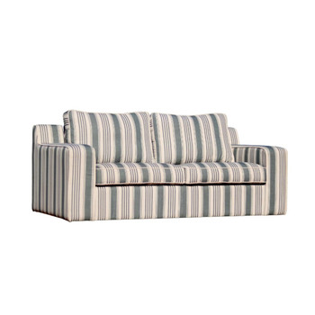 Grey And White Stripe Material 2-Seater Couch