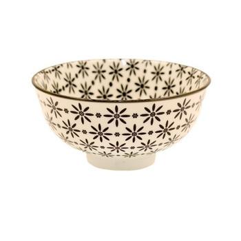 Ceramic Bowl - 12x6cm - Black Flower Pattern
