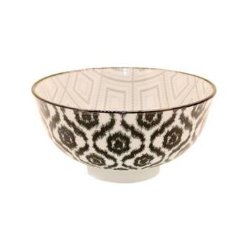Ceramic Bowl - 12x6cm - Black & Grey Flower Pattern