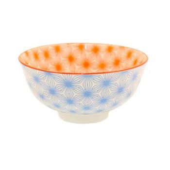 Ceramic Bowl - 12x6cm - Light Blue & Orange