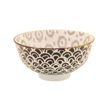 Ceramic Bowl - 12x6cm - Black & Grey Pattern
