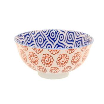 Ceramic Bowl - 12x6cm - Red Flower & Teal Pattern