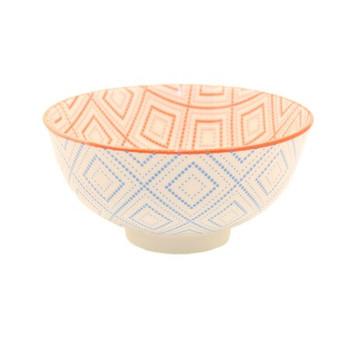 Ceramic Bowl - 12x6cm - Sky Blue & Red Pattern