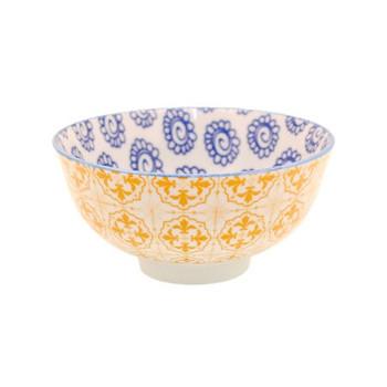 Ceramic Bowl - 12x6cm - Orange Fleur-de-Lis & Blue Flower