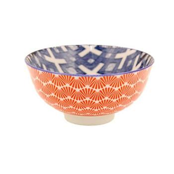 Ceramic Bowl - 12x6cm - Orange & Denim Blue pattern