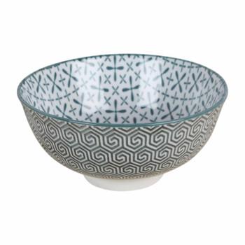 Green Ceramic Bowl with geometric design