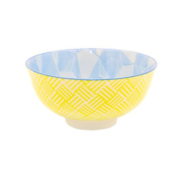 Ceramic Bowl - 12x6cm - Yellow & Sky Blue Pattern