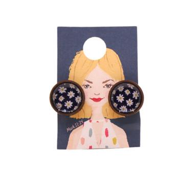 Black With Daisies Earrings